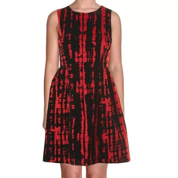 199d390b7e48d Calvin Klein Red Black Velvet Sleeveless Dress 10